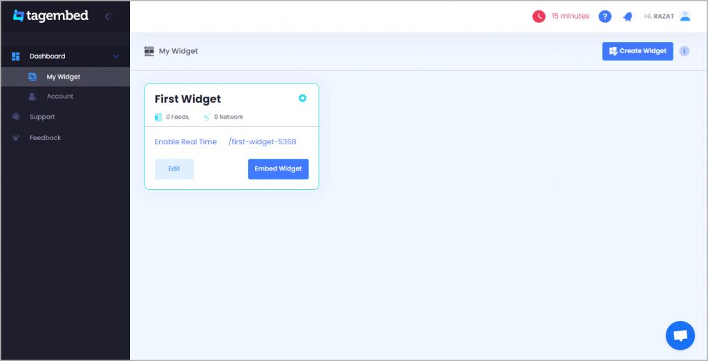 create widget at tagembed