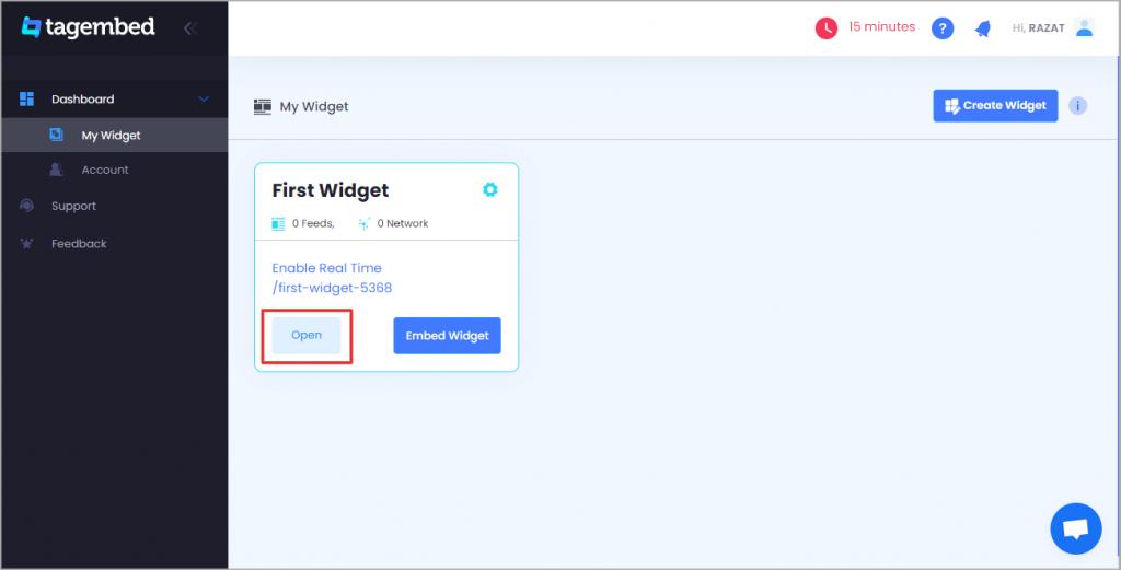 create slack widget on Tagembed