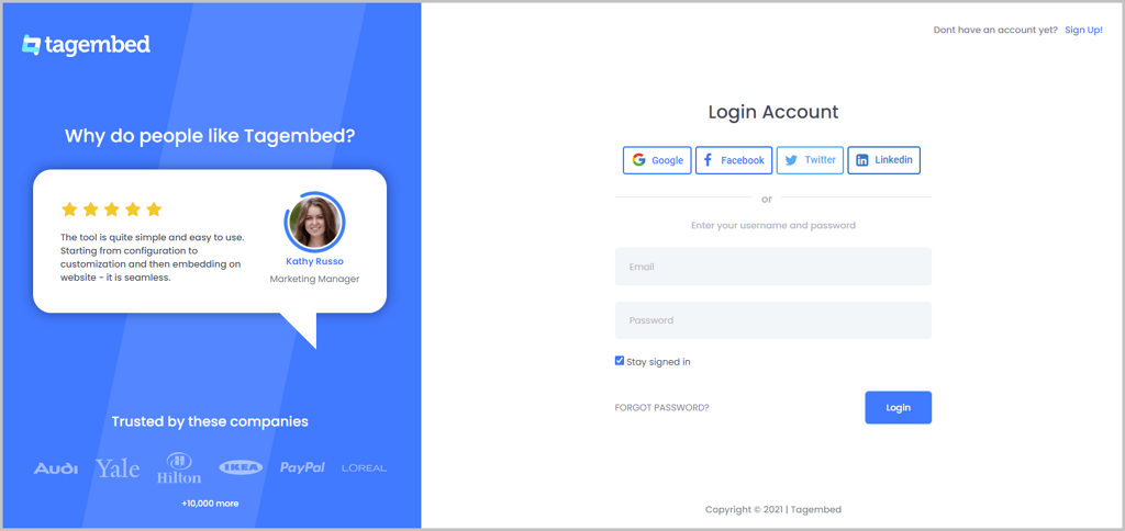 Create Account on Tagemebed