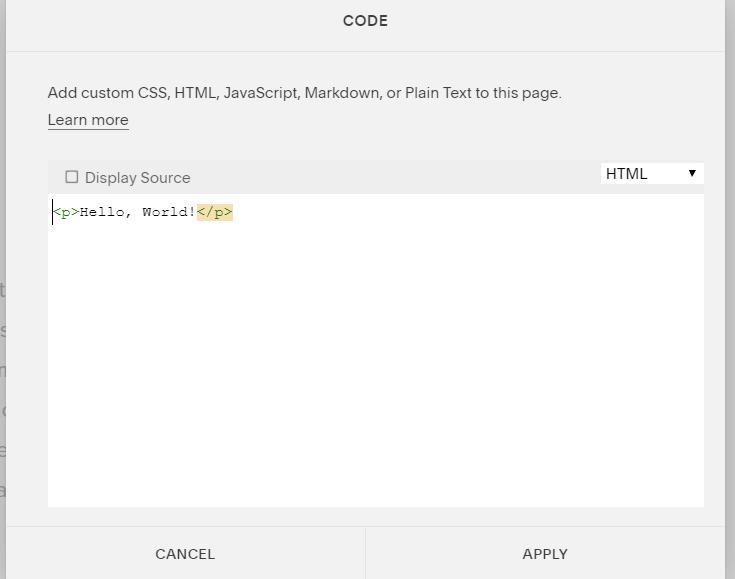 Code for Squarespace Widget