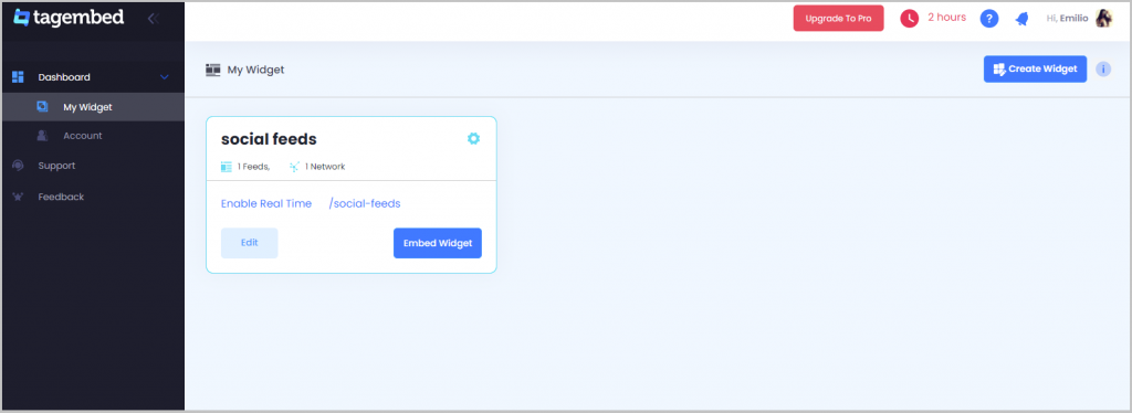 add social media feed with pagecloud