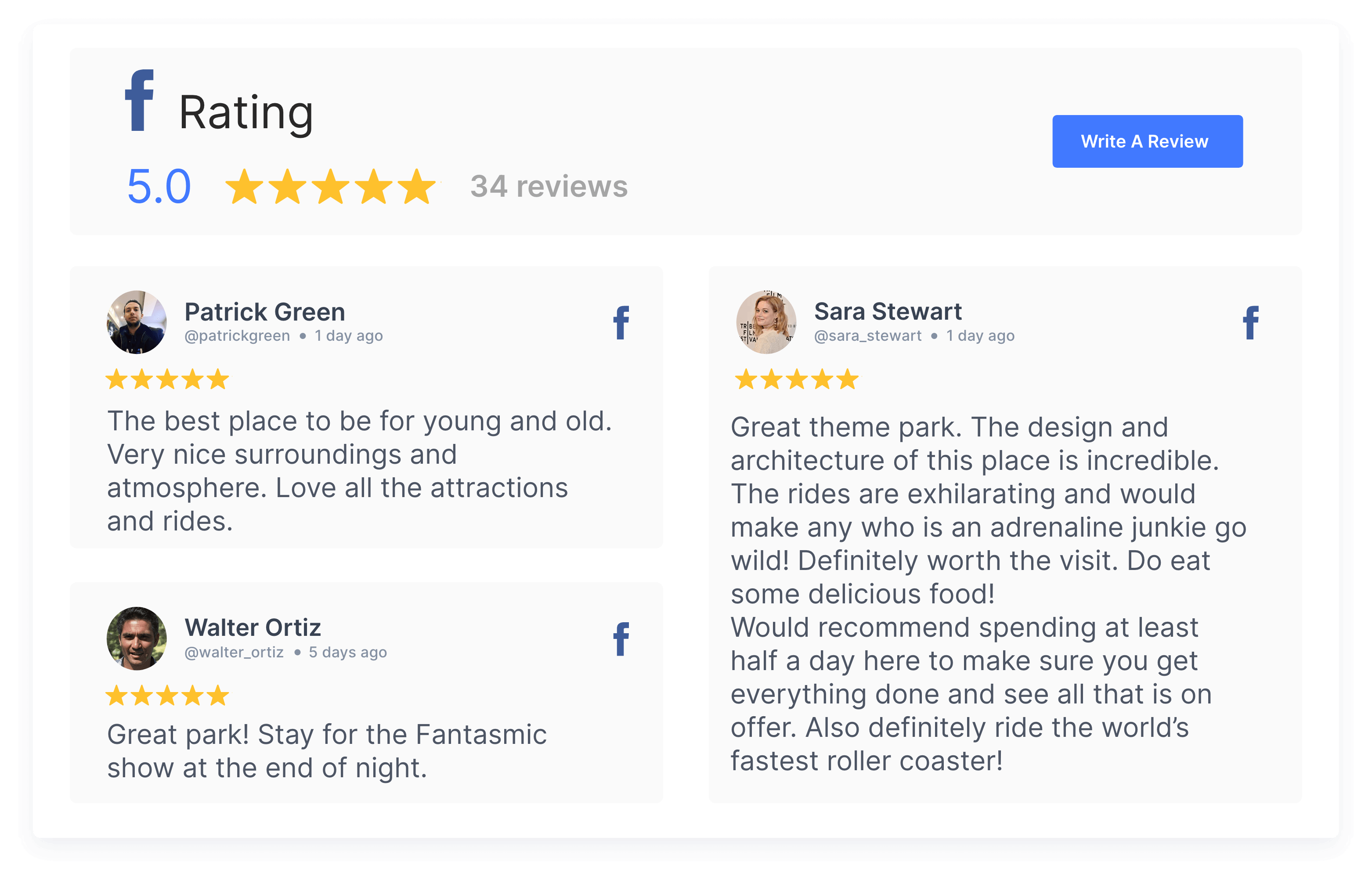 collect facebook reviews in a widget