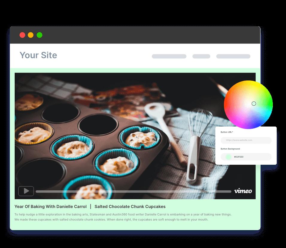 customized tagembed vimeo page widgets